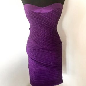 Daisy Purple Sweetheart Neckline Strapless Dress